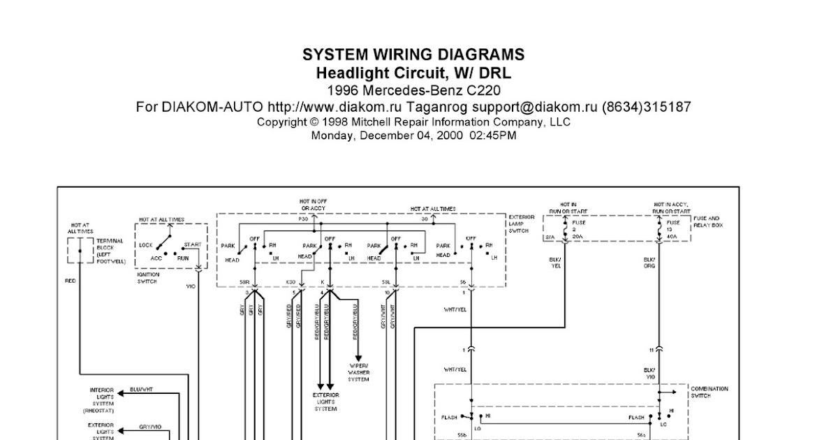 1996 MercedesBenz C220 System Wiring Diagrams Headlight Circuit, W DRL   Schematic Wiring