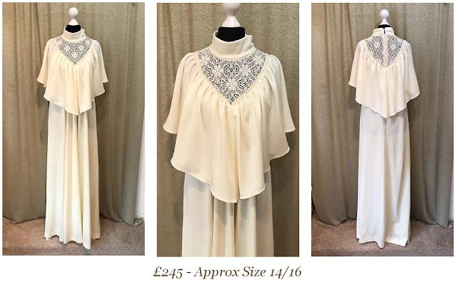 1970's bohemian vintage wedding dress boho cape sleeve high neck available at vintage lane bridal boutique in bolton , manchester, lancashire