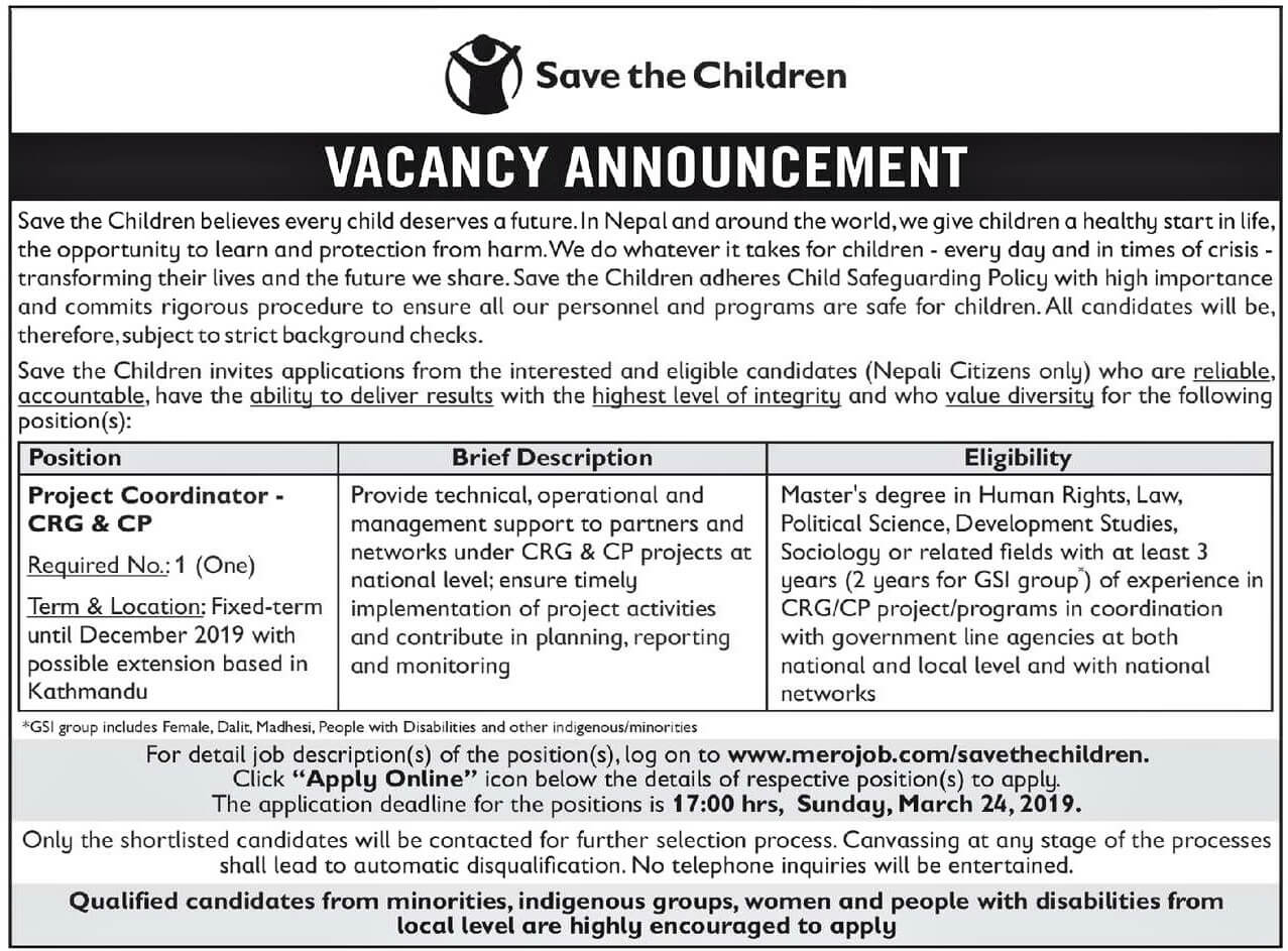 Vacancy Announcement from SAVE THE CHILDREN.