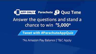 {Answers} Amazon Parachute Quiz Answers - Win ₹5000 Amazon Pay Balance