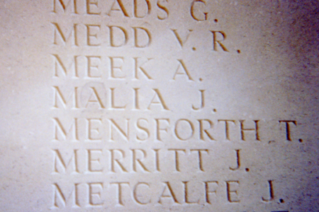 John Malia's name corrected on the Thiepval Memorial, with thanks to the Malia Family and the Commonwealth War Graves Commission