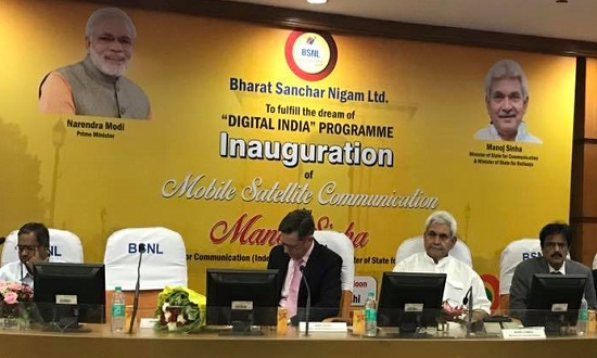 Telecom Minister Manoj Sinha inaugurated BSNL's Satellite Mobile phone service through INMARSAT