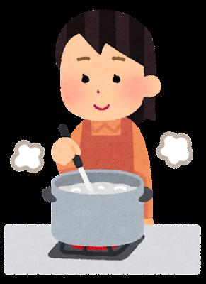 食材を茹でている人のイラスト(女性・お玉)