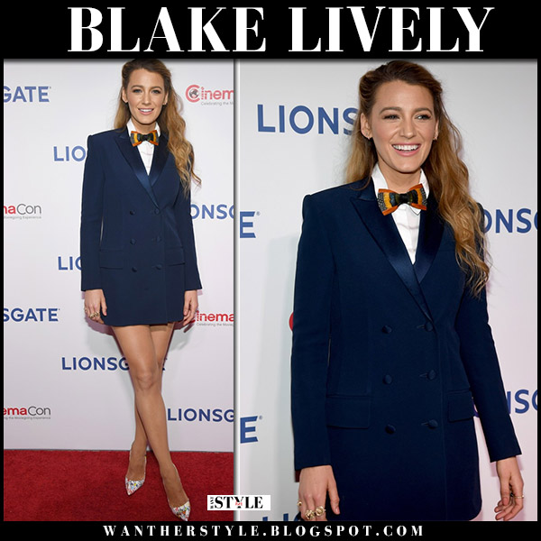 Blake Lively in navy blazer mini dress sonia rykiel and white pumps christian louboutin pigalle follies red carpet style april 26