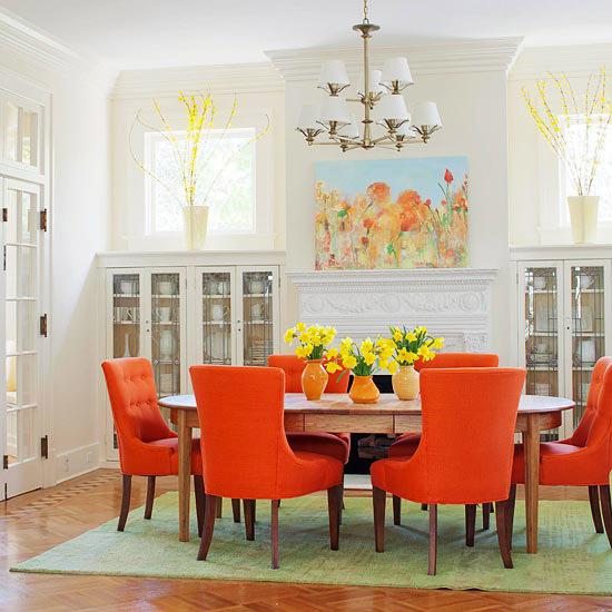 sala jantar laranja