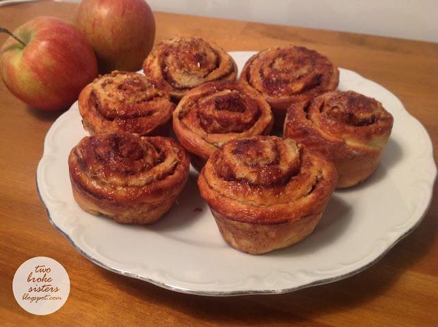 Drożdżowe ślimaczki cynamonowe z jabłkami muffinki twobrokesisters