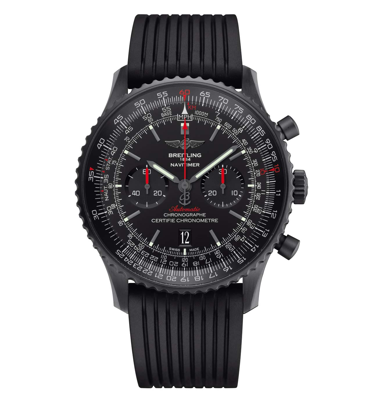 2215dfe4bfc ... the Breitling Navitimer 46 Blacksteel is water resistant to 30 metres    100 feet and has a retail price of Euro 8