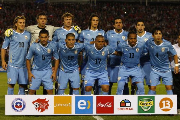 Formación de Uruguay ante Chile, amistoso disputado el 17 de noviembre de 2010