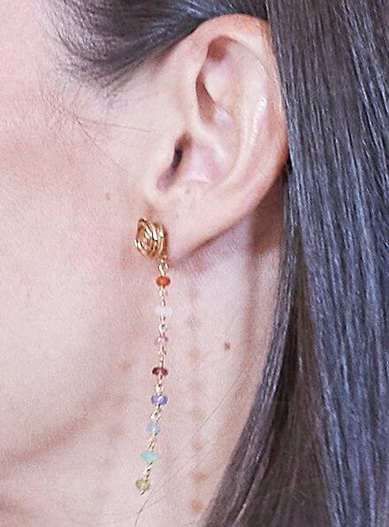 Queen Letizia wore Hugo Boss floral print shirtdress. Tous earrings