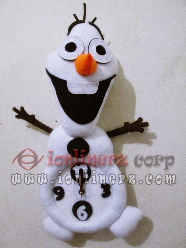 Jam Dinding Flanel Karakter Kartun Boneka Salju Frozen (Olaf)