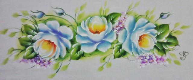 pano de prato Pintura em tecido ramos de rosas