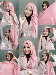 tutorial jilbab segi empat pesta