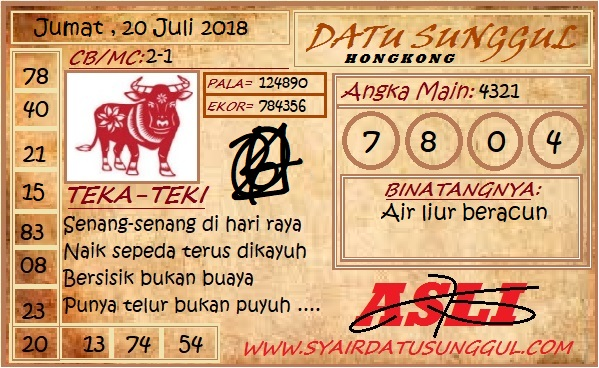Code Syair HK 20-07-2018