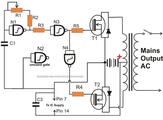 simple inverter using NAND gates and mosfets