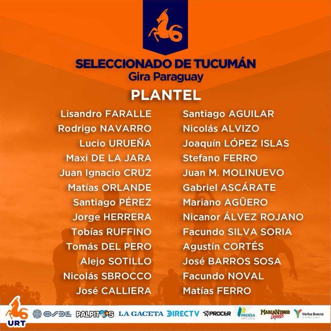 Plantel de Tucumán para viajar a Paraguay #URT #VamosNaranjas