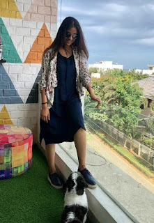 Keerthy Suresh in Blue Dress with Cute and Awesome Smile with a Cute Dog
