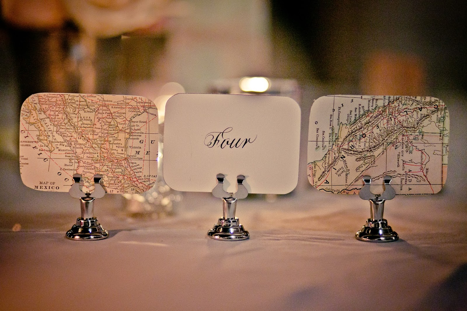 Table Setting Featuring Maps, Courtesy of Weddings in Vieque