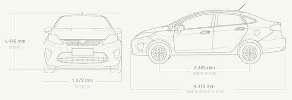 New Fiesta Sedan: Dimensões e especificações do New Fiesta