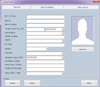 Input Data Guru Aplikasi Buku Induk