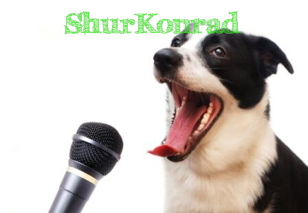 Dog with Microphone small wb No-More-Woof perros piensan aparato micro informatica ShurKonrad 1