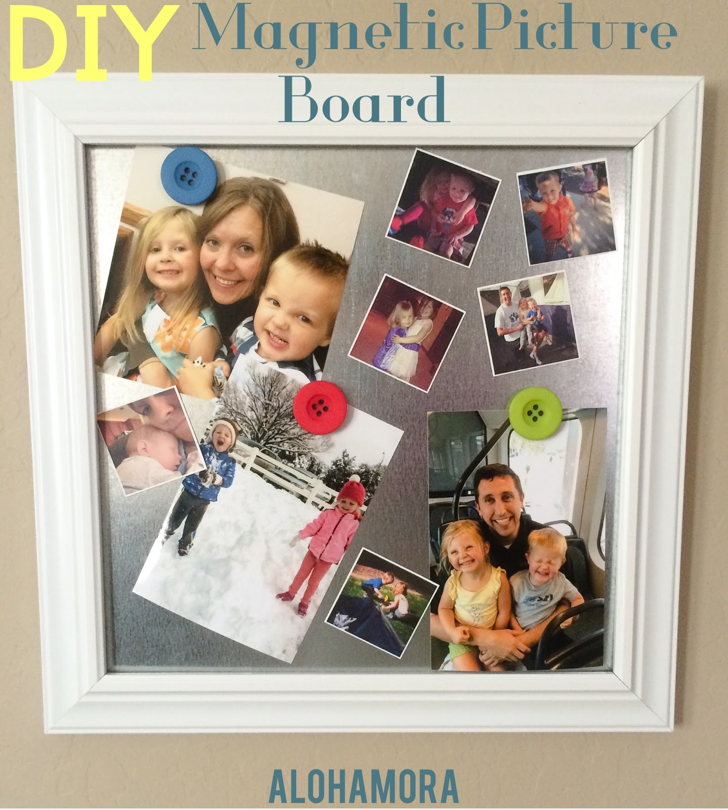 DIY Magnetic Picture Board.  Easy and Fast to make, and can be made in 10 minutes for less than $20.  These magnetic picture boards are a great and fun way to show pictures that can be easily rotated.  Alohamora Open a Book http://www.alohamoraopenabook.blogspot.com/