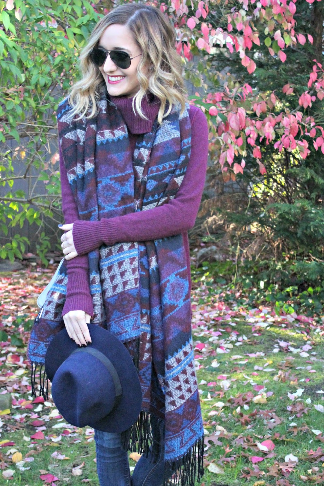navy & burgundy cotton on scarf