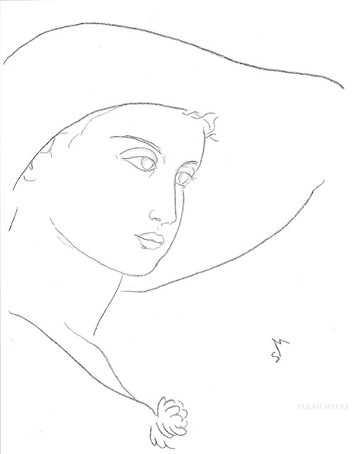 art, arte, sketch, drawing, minimal, Sarah, Myers, charcoal, minimalism, woman, lady, figurative, contemporary, simple, line, line-drawing, portrait, minimalist, dibujo, face, head, fashion, sun-hat, hat, sombrero