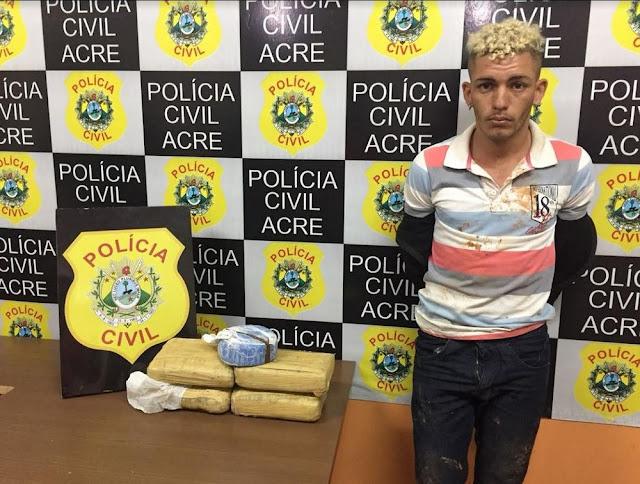 Em Cruzeiro do Sul, jovem é preso com cinco quilos de droga em rodovia