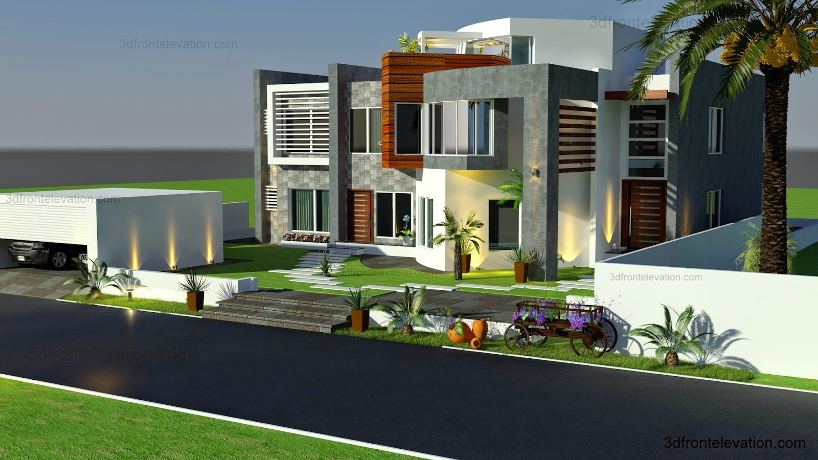 3d front oman modern contemporary villa 3d front elevation 2015 for Plan architecte villa moderne