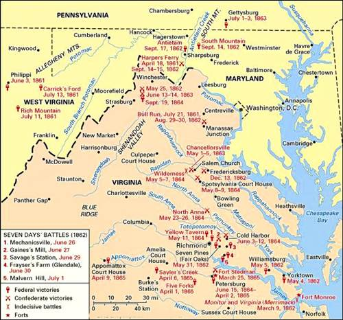 El área principal de las campañas orientales, 1861-65.