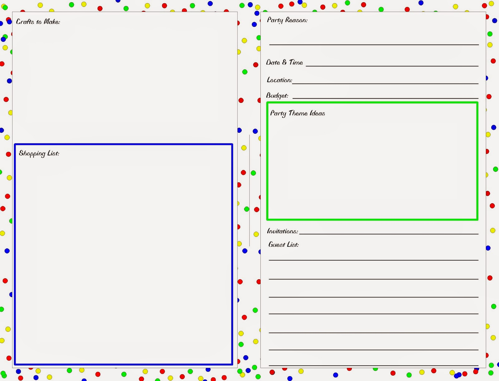 party planning worksheet planner printable everyday parties. Black Bedroom Furniture Sets. Home Design Ideas