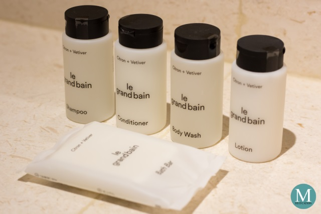 Le Grand Bain toiletries in the Deluxe Room at Sheraton Manila Hotel