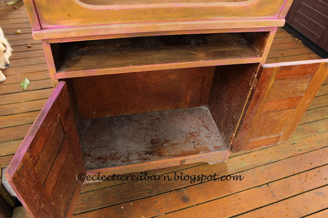 Eclectic Red Barn: Dirty inside of cabinet