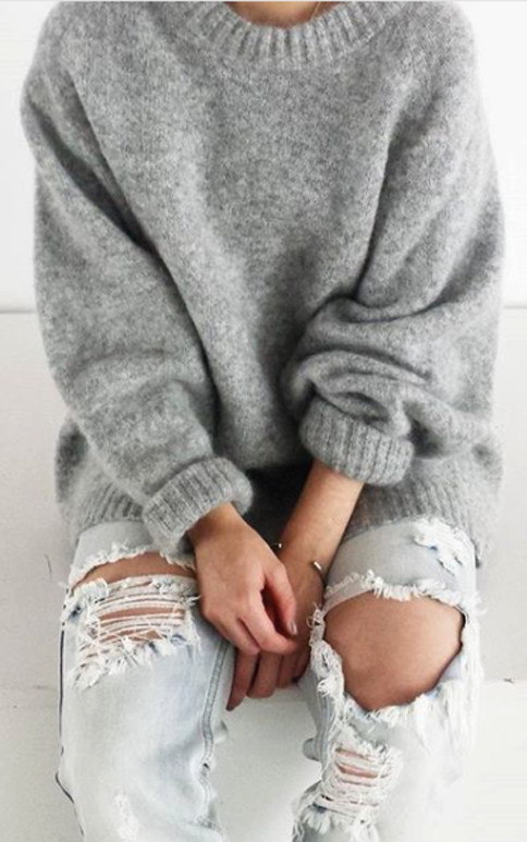 cozy and comfy: sweater + rips