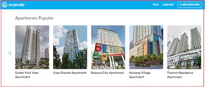 Apartemen Jakarta Barat, Apartemen Jakarta Utara, Apartemen Jakarta Pusat, Apartemen Jakarta Timur, dan Apartemen Jakarta Selatan.