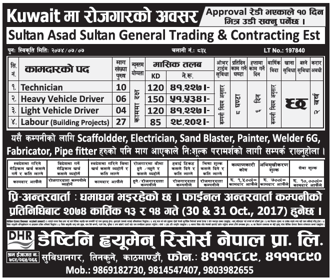 Jobs in Kuwait for Nepali, Salary Rs 51,534