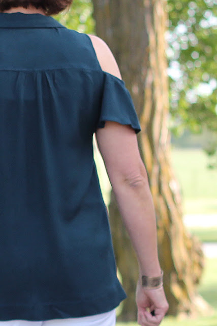 A Mimi G pattern, Simplicity 8341, made as a top with Style Maker Fabrics' rayon twill. - back