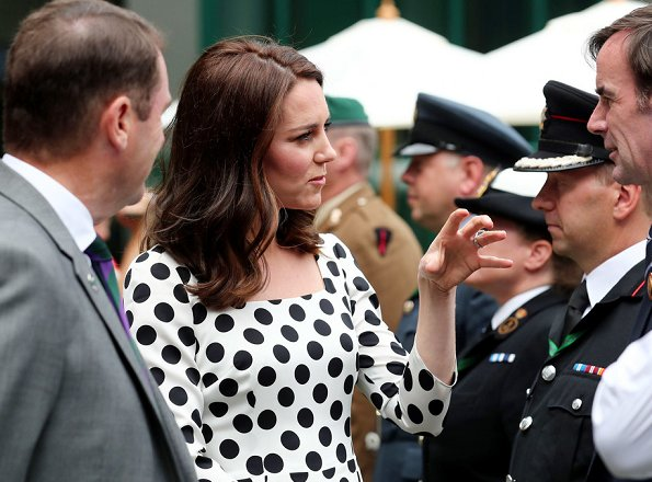 Duchess Catherine of Cambridge - Kate Middleton wore DOLCE & GABBANA polka dot dress at Wimbledon Tennis Championships