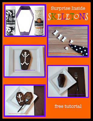 bones skeleton free halloween cake cupcake topper tutorial