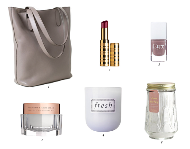 Everlane Petra Magazine Tote, Charlotte Tilbury Magic Cream, Beauty Counter Lip Sheer,  Fresh Sake Candle, Kure Bazaar Nail Lacquer, Illume Coconut Milk Mango Fine Bath Salts