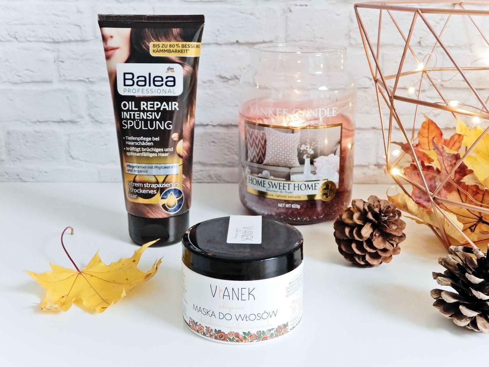 intensywną odżywkę z Balea z olejkiem arganowym i proteinami, odżywcza maska do włosów z Vianka,