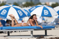 Kelly Bensimon in a Pink Paisley Elizabeth Hurley Bikini on Miami Beach