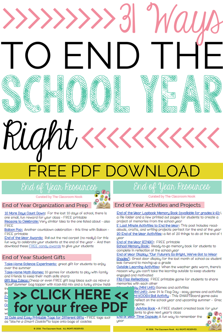 31 Ways to End the School Year Right! - The Classroom Nook