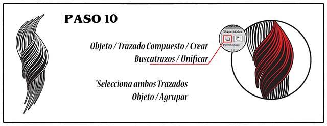 Tutorial en español de Adobe Illustrator para Crear Cabello Estilizado Paso 10