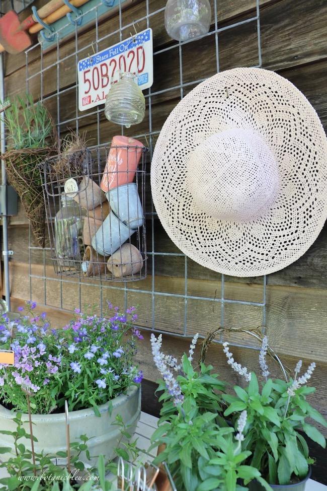 spring tour of gardener's potting bench gardening hat
