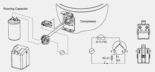 diagram pemasangan relay kompresor samsung
