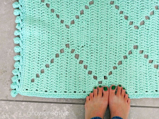 Crochet Cotton Rug in Mint with Bobble Edging: growcreative blog