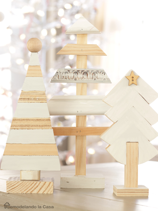 three wooden trees make from scrap pieces of wood