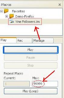 AddMeFast Vine followers imacros script