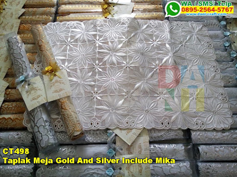 Jual Taplak Meja Gold And Silver Include Mika